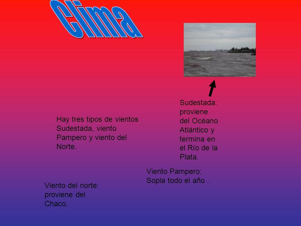 Hay tres tipos de vientos Sudestada, viento Pampero y viento del Norte. Viento Pampero: Sopla todo el año. Viento del norte: proviene del Chaco. Sudes