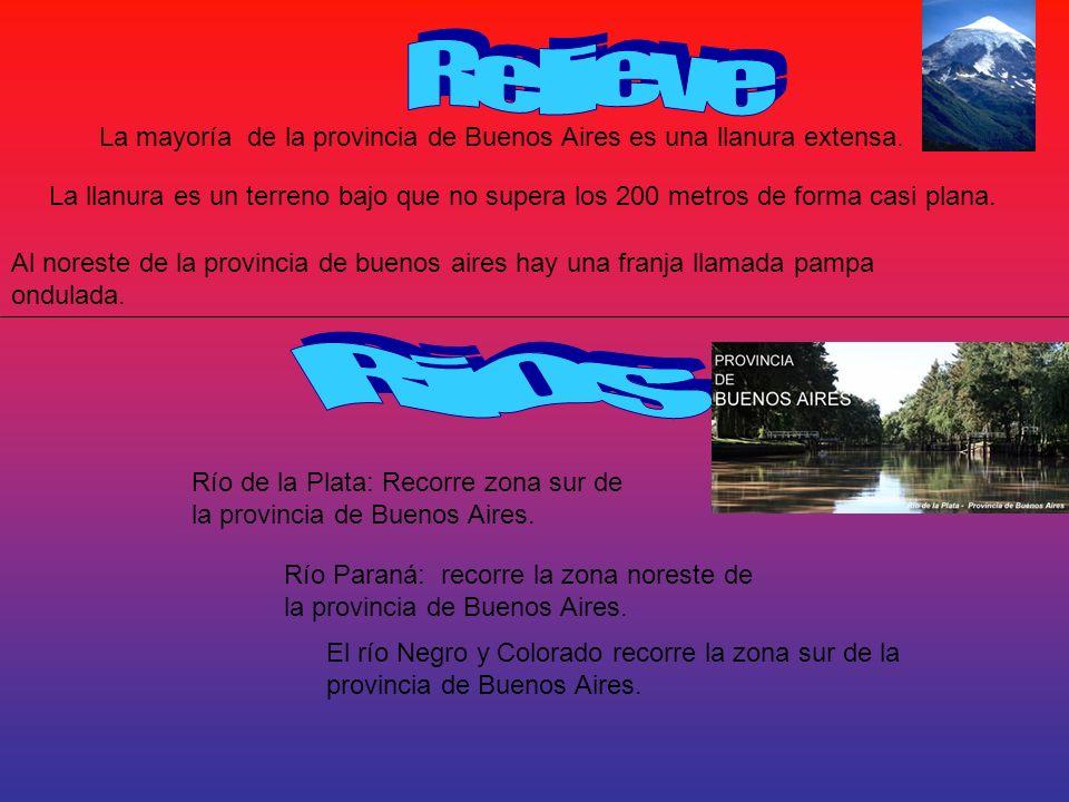 La mayoría de la provincia de Buenos Aires es una llanura extensa. La llanura es un terreno bajo que no supera los 200 metros de forma casi plana. Al