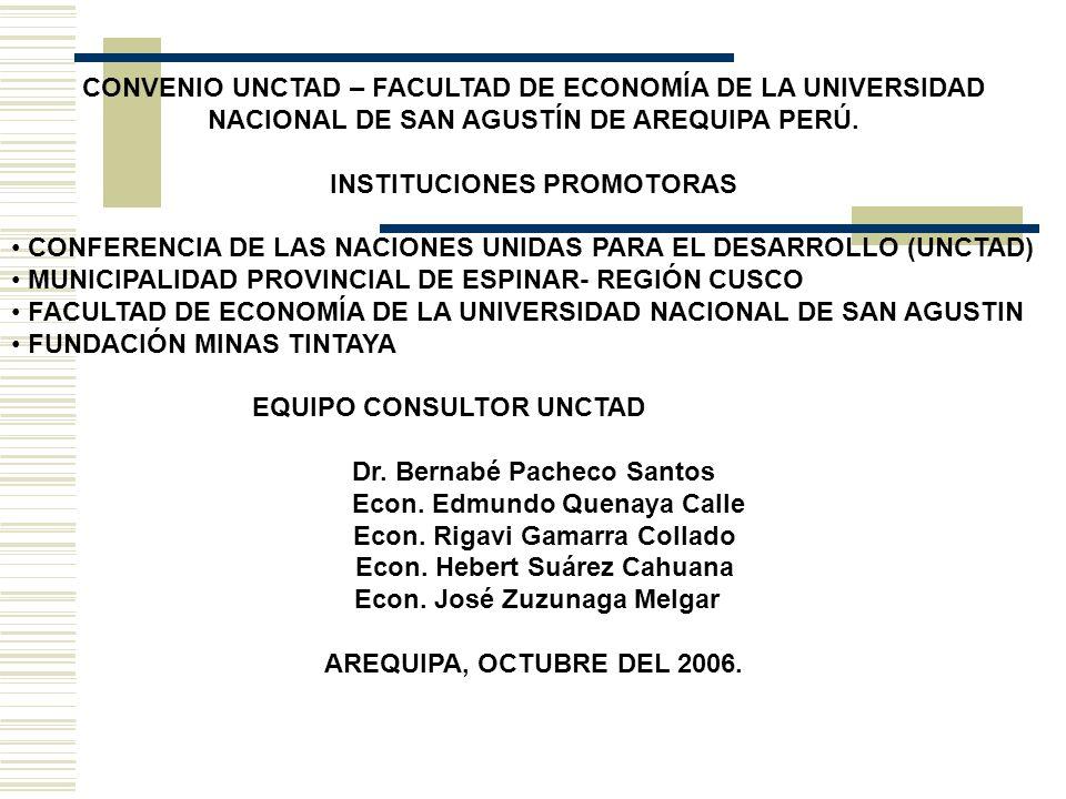 ESTUDIOS DE INVESTIGACIÓN REALIZADOS POR ENCARGO DE LA UNCTAD EN LA PROVINCIA DE ESPINAR ENTRE SETIEMBRE 2005 A OCTUBRE 2006 1.DIAGNÓSTICO INTEGRAL DE LA PROVINCIA DE ESPINAR, REGIÓN CUSCO AÑO 2005.