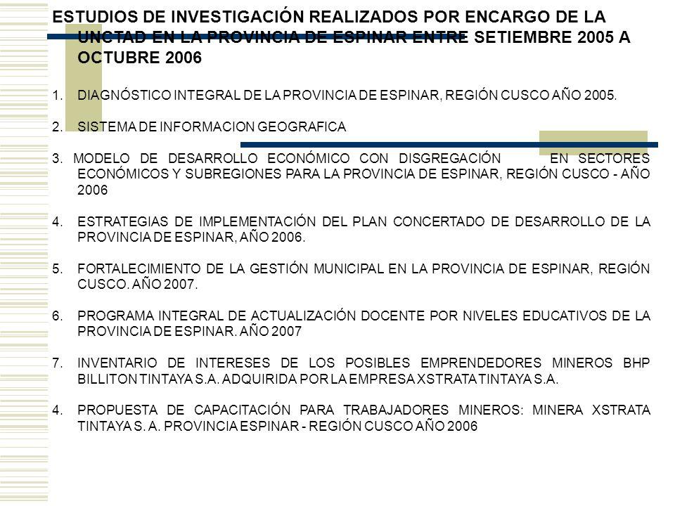 OBJETIVOS GENERALES 1.Apoyar el desarrollo económico y social de la provincia de Espinar como zona de fuerte influencia minera.