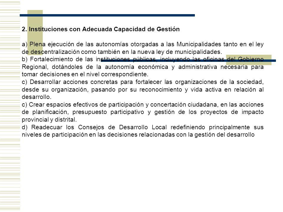 2. Instituciones con Adecuada Capacidad de Gestión a) Plena ejecución de las autonomías otorgadas a las Municipalidades tanto en el ley de descentrali