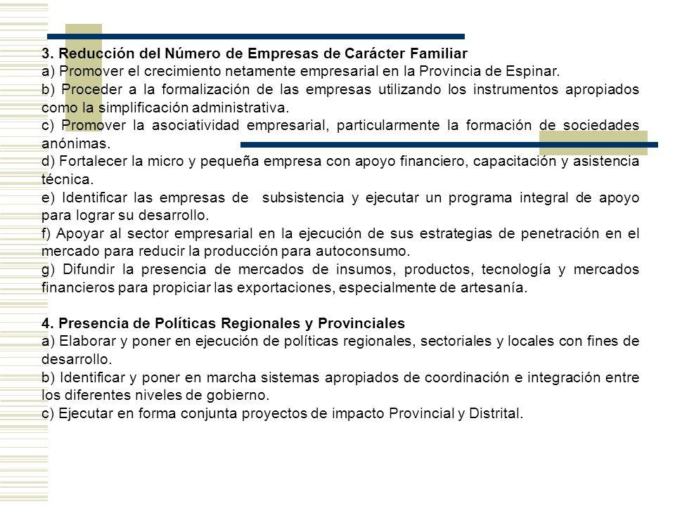 3. Reducción del Número de Empresas de Carácter Familiar a) Promover el crecimiento netamente empresarial en la Provincia de Espinar. b) Proceder a la