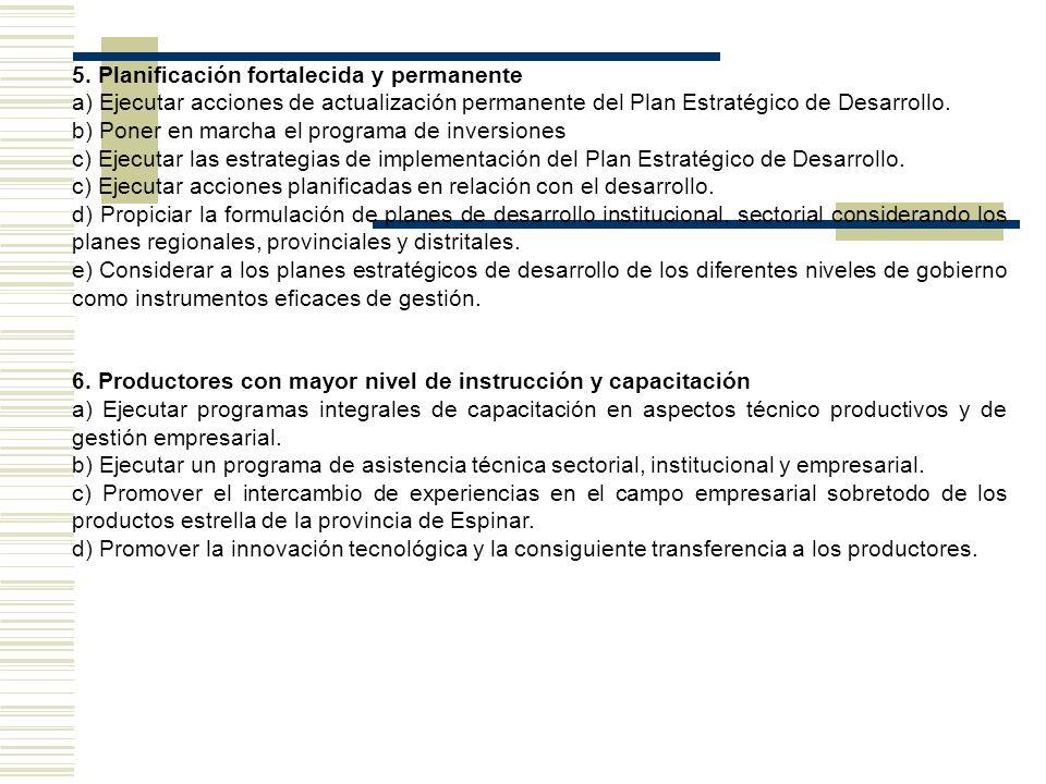 5. Planificación fortalecida y permanente a) Ejecutar acciones de actualización permanente del Plan Estratégico de Desarrollo. b) Poner en marcha el p