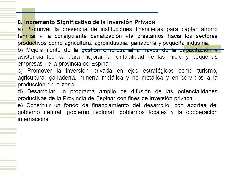 8. Incremento Significativo de la Inversión Privada a) Promover la presencia de instituciones financieras para captar ahorro familiar y la consiguient