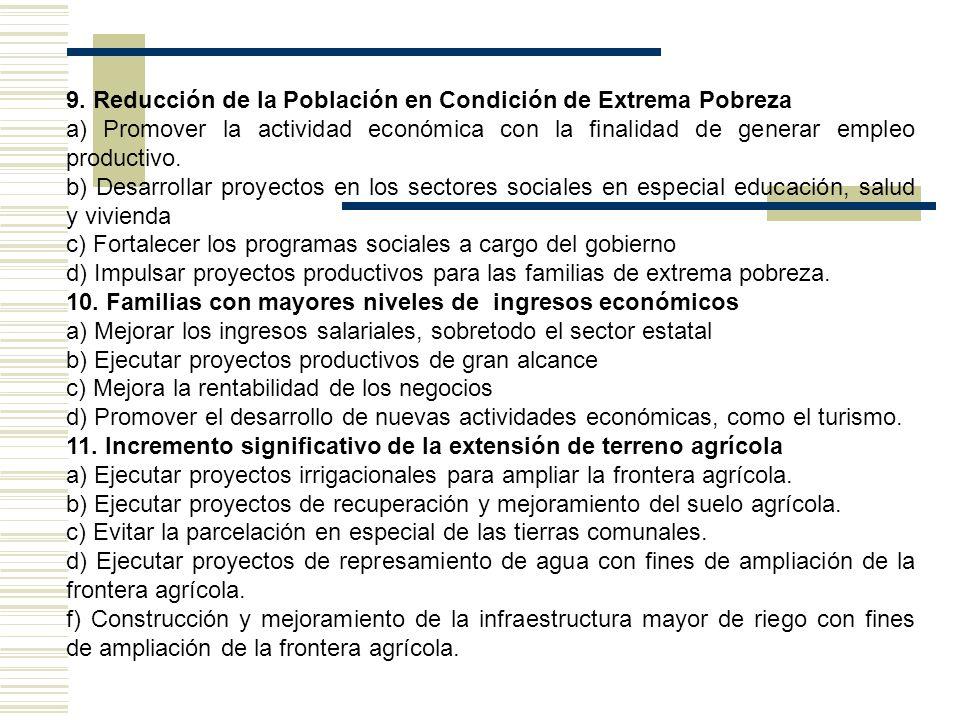 9. Reducción de la Población en Condición de Extrema Pobreza a) Promover la actividad económica con la finalidad de generar empleo productivo. b) Desa