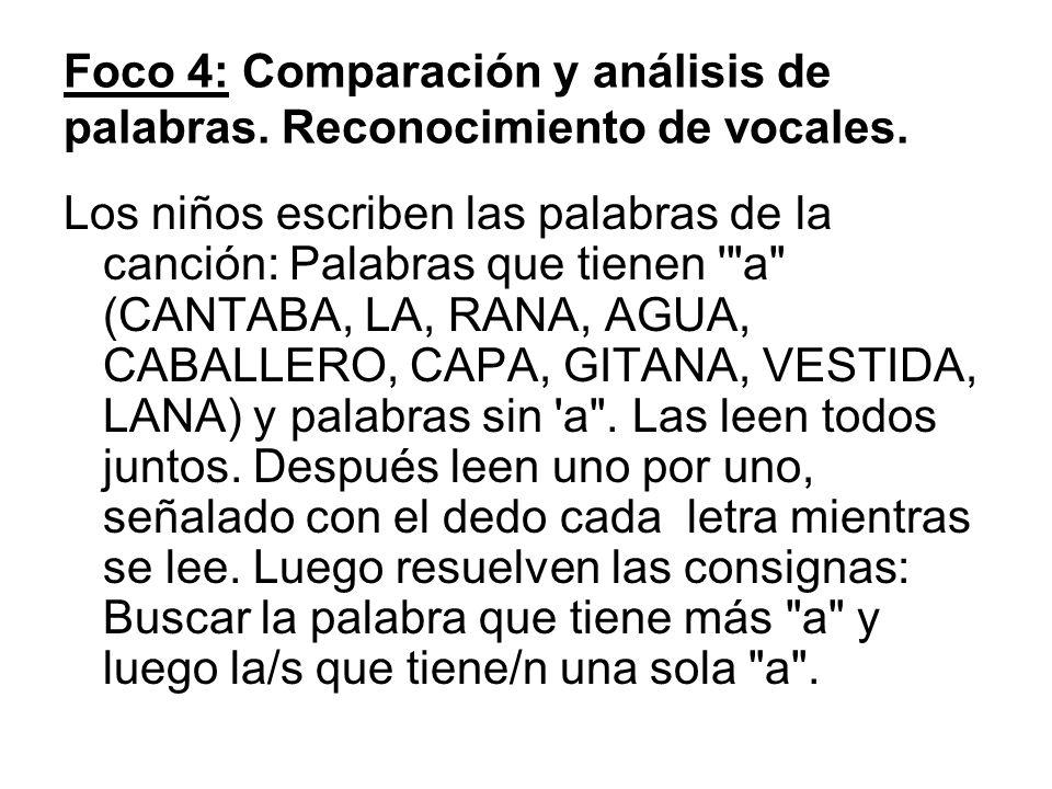 Foco 4: Comparación y análisis de palabras. Reconocimiento de vocales. Los niños escriben las palabras de la canción: Palabras que tienen '