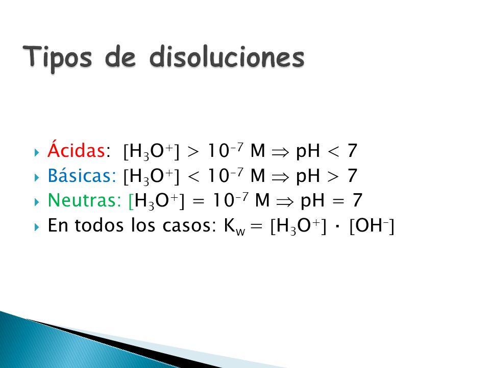 El valor de dicho producto iónico del agua es: K W (25ºC) = 10 –14 En el caso del agua pura: H 3 O + = OH – = 10 –7 M Se denomina pH a: Y para el caso