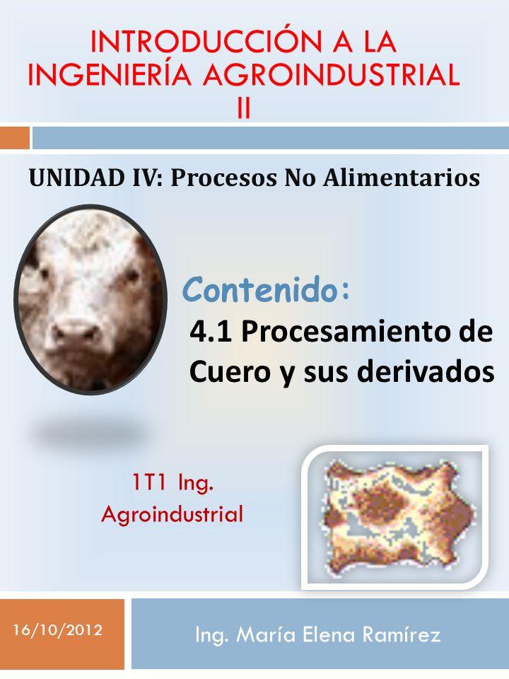 Ing. María Elena Ramírez UNIDAD IV: Procesos No Alimentarios INTRODUCCIÓN A LA INGENIERÍA AGROINDUSTRIAL II Contenido: 4.1 Procesamiento de Cuero y su