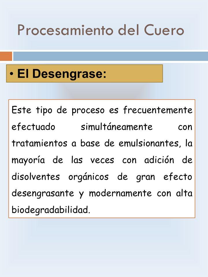 Procesamiento del Cuero El Desengrase: Este tipo de proceso es frecuentemente efectuado simultáneamente con tratamientos a base de emulsionantes, la m