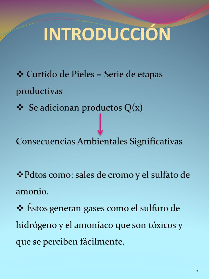 INTRODUCCIÓN Curtido de Pieles = Serie de etapas productivas Se adicionan productos Q(x) Consecuencias Ambientales Significativas Pdtos como: sales de cromo y el sulfato de amonio.