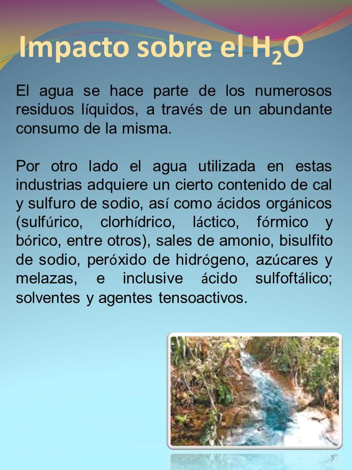Impacto sobre el H 2 O 5 El agua se hace parte de los numerosos residuos l í quidos, a trav é s de un abundante consumo de la misma. Por otro lado el