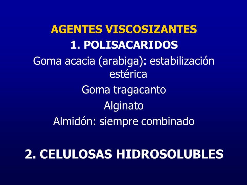 AGENTES VISCOSIZANTES 1. POLISACARIDOS Goma acacia (arabiga): estabilización estérica Goma tragacanto Alginato Almidón: siempre combinado 2. CELULOSAS