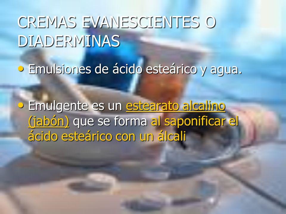 CREMAS EVANESCIENTES O DIADERMINAS Emulsiones de ácido esteárico y agua. Emulsiones de ácido esteárico y agua. Emulgente es un estearato alcalino (jab