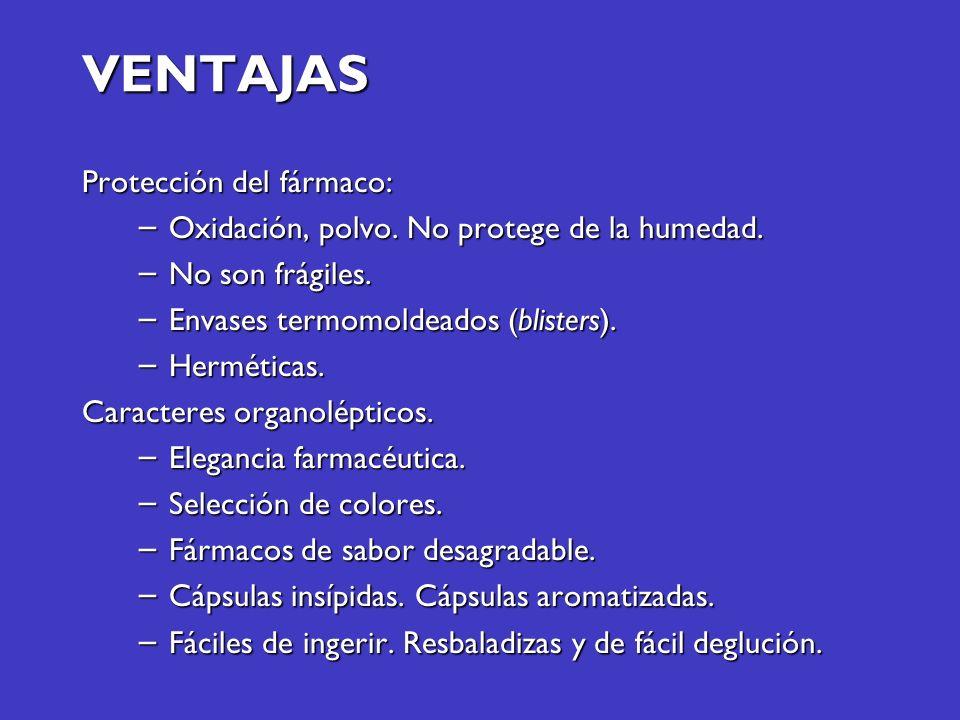 VENTAJAS Protección del fármaco: – Oxidación, polvo. No protege de la humedad. – No son frágiles. – Envases termomoldeados (blisters). – Herméticas. C
