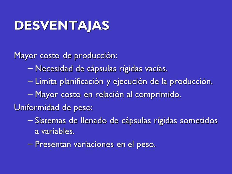 DESVENTAJAS Mayor costo de producción: – Necesidad de cápsulas rígidas vacías. – Limita planificación y ejecución de la producción. – Mayor costo en r