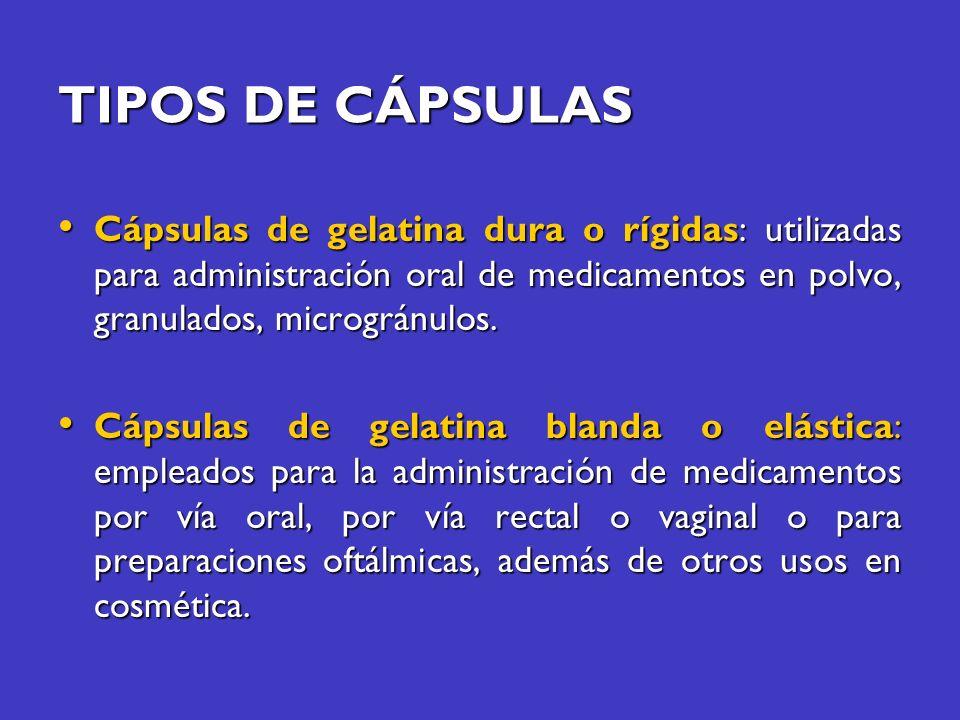 TIPOS DE CÁPSULAS Cápsulas de gelatina dura o rígidas: utilizadas para administración oral de medicamentos en polvo, granulados, microgránulos. Cápsul