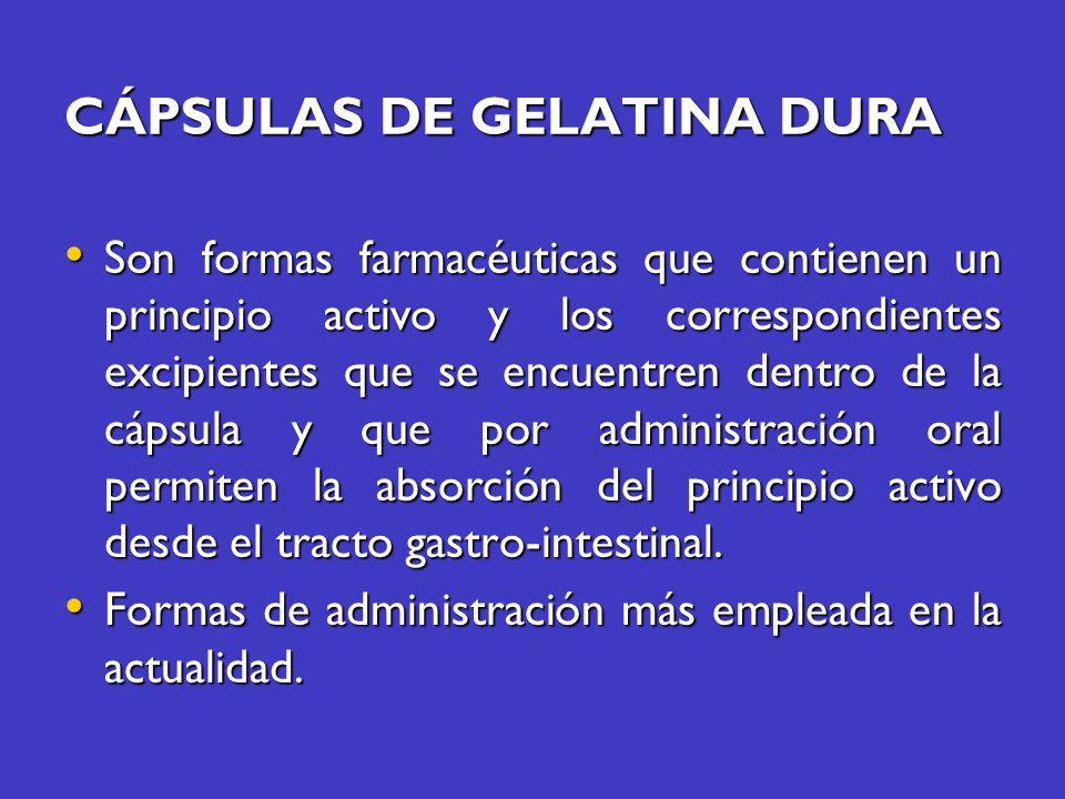 CÁPSULAS DE GELATINA DURA Son formas farmacéuticas que contienen un principio activo y los correspondientes excipientes que se encuentren dentro de la