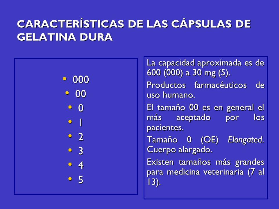 000 000 00 00 0 1 2 3 4 5 La capacidad aproximada es de 600 (000) a 30 mg (5). Productos farmacéuticos de uso humano. El tamaño 00 es en general el má