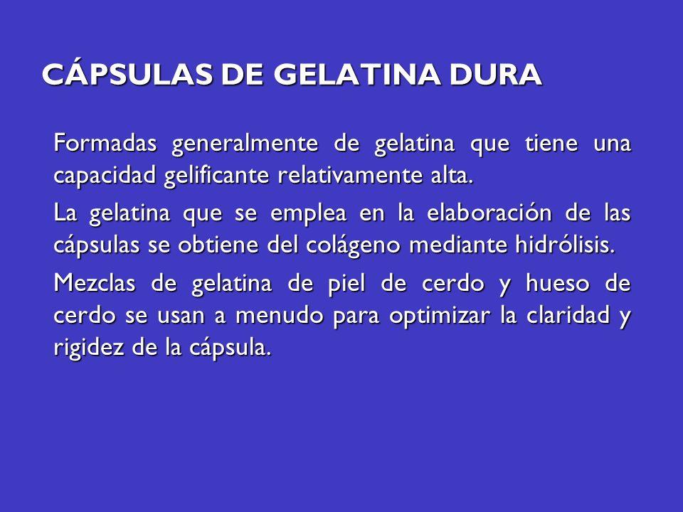 CÁPSULAS DE GELATINA DURA Formadas generalmente de gelatina que tiene una capacidad gelificante relativamente alta. La gelatina que se emplea en la el