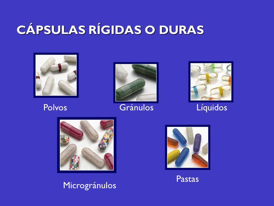 CÁPSULAS RÍGIDAS O DURAS PolvosGránulosLíquidos Pastas Microgránulos