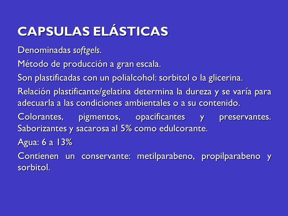CAPSULAS ELÁSTICAS Denominadas softgels. Método de producción a gran escala. Son plastificadas con un polialcohol: sorbitol o la glicerina. Relación p