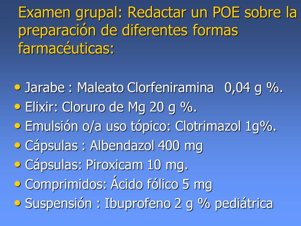 Examen grupal: Redactar un POE sobre la preparación de diferentes formas farmacéuticas: Jarabe : Maleato Clorfeniramina0,04 g %. Jarabe : Maleato Clor