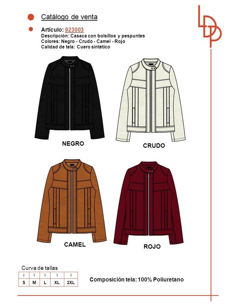 Catálogo de venta Artículo: 923004 Descripción: Casaca con cierre y bolsillos Colores: Negro - Denim blue- Camel Calidad de tela : Cuero sintético Curva de tallas 23332 SMLXL2XL NEGRO Composición tela: 100% Poliuretano DENIM BLUE CAMEL