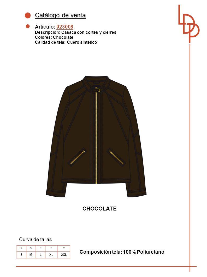 Catálogo de venta Artículo: 923008 Descripción: Casaca con cortes y cierres Colores: Chocolate Calidad de tela: Cuero sintético Curva de tallas Composición tela: 100% Poliuretano 23332 SMLXL2XL CHOCOLATE