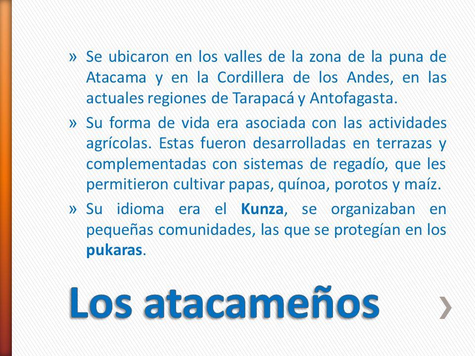»S»Se ubicaron en los valles de la zona de la puna de Atacama y en la Cordillera de los Andes, en las actuales regiones de Tarapacá y Antofagasta. »S»