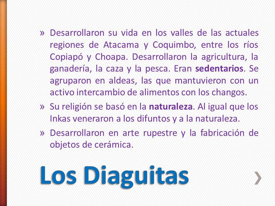 » Desarrollaron su vida en los valles de las actuales regiones de Atacama y Coquimbo, entre los ríos Copiapó y Choapa. Desarrollaron la agricultura, l