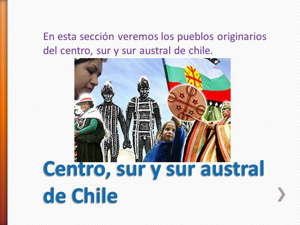 En esta sección veremos los pueblos originarios del centro, sur y sur austral de chile.