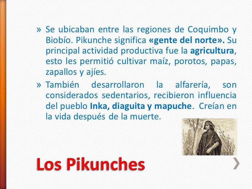 » Se ubicaban entre las regiones de Coquimbo y Biobío. Pikunche significa «gente del norte». Su principal actividad productiva fue la agricultura, est