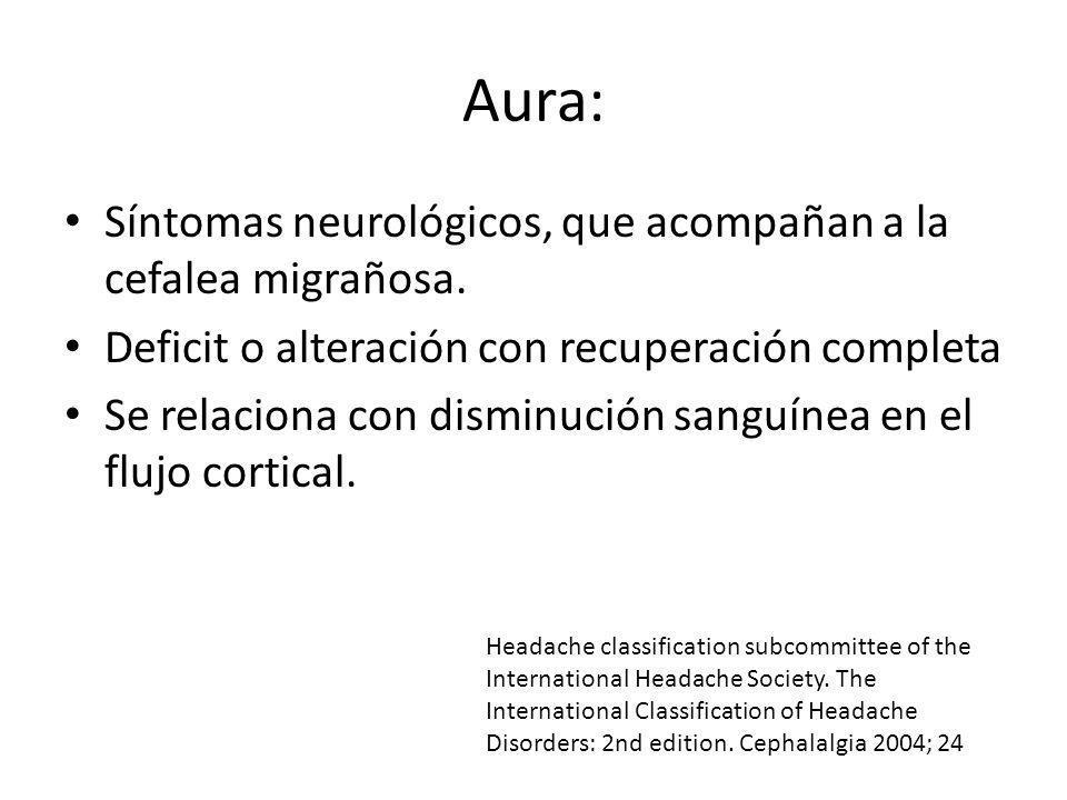 Aura: Síntomas neurológicos, que acompañan a la cefalea migrañosa.