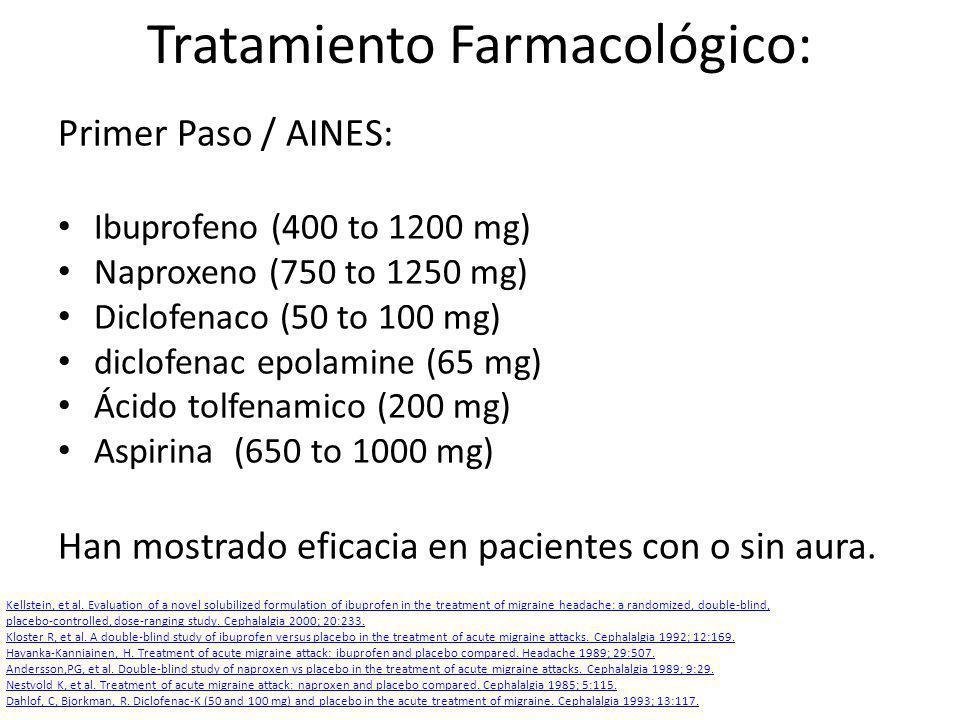 Tratamiento Farmacológico: Primer Paso / AINES: Ibuprofeno (400 to 1200 mg) Naproxeno (750 to 1250 mg) Diclofenaco (50 to 100 mg) diclofenac epolamine (65 mg) Ácido tolfenamico (200 mg) Aspirina (650 to 1000 mg) Han mostrado eficacia en pacientes con o sin aura.