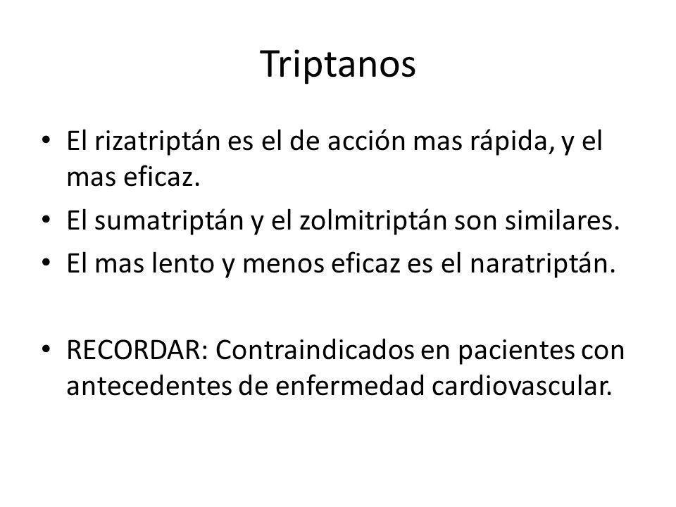 Triptanos El rizatriptán es el de acción mas rápida, y el mas eficaz.