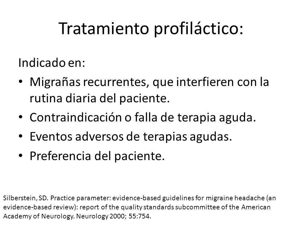 Tratamiento profiláctico: Indicado en: Migrañas recurrentes, que interfieren con la rutina diaria del paciente.