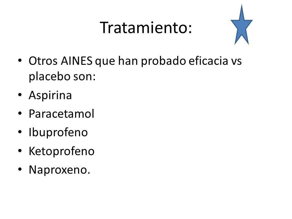 Tratamiento: Otros AINES que han probado eficacia vs placebo son: Aspirina Paracetamol Ibuprofeno Ketoprofeno Naproxeno.