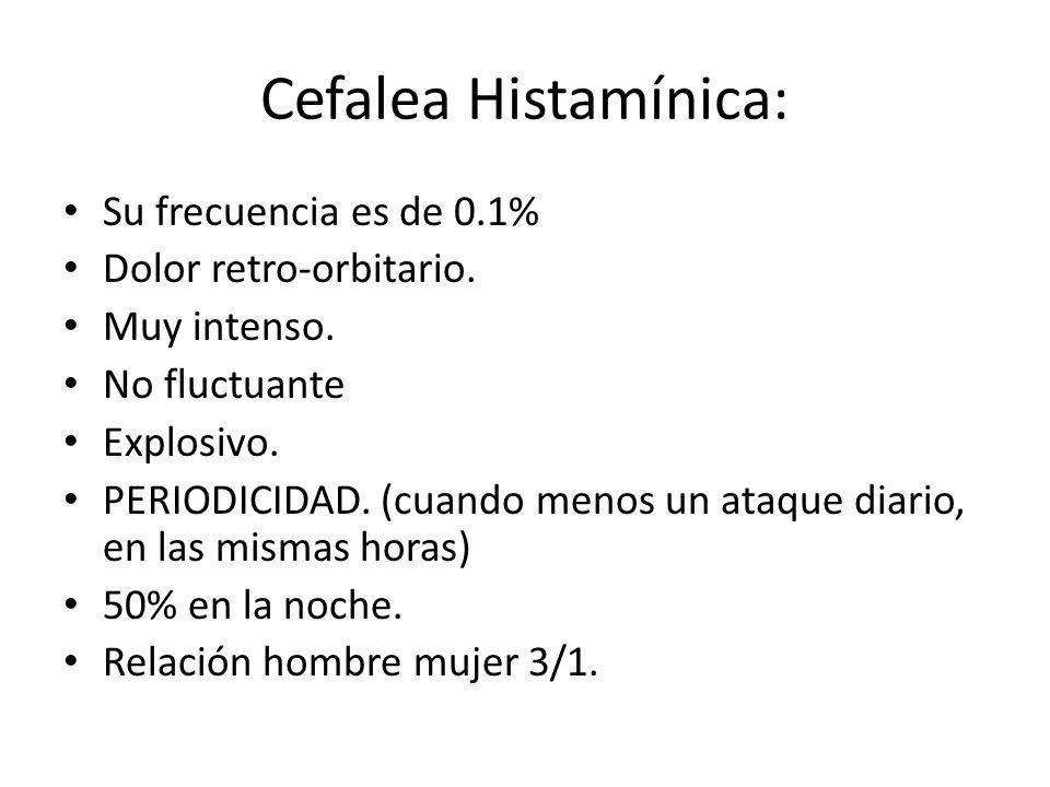 Cefalea Histamínica: Su frecuencia es de 0.1% Dolor retro-orbitario.