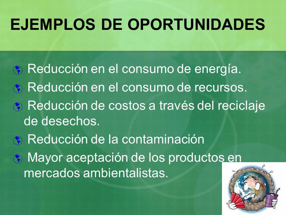 EJEMPLOS DE OPORTUNIDADES Reducción en el consumo de energía. Reducción en el consumo de recursos. Reducción de costos a través del reciclaje de desec