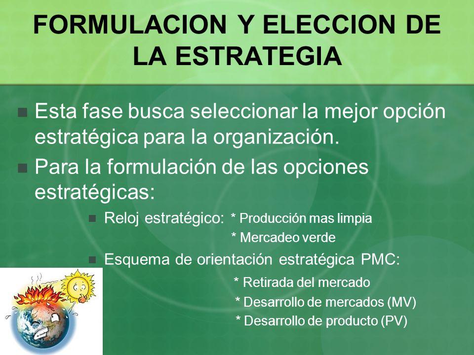 FORMULACION Y ELECCION DE LA ESTRATEGIA Esta fase busca seleccionar la mejor opción estratégica para la organización. Para la formulación de las opcio