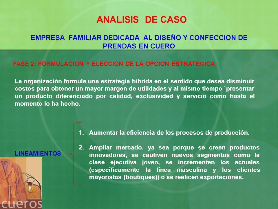 ANALISIS DE CASO EMPRESA FAMILIAR DEDICADA AL DISEÑO Y CONFECCION DE PRENDAS EN CUERO FASE 2: FORMULACION Y ELECCION DE LA OPCION ESTRATEGICA La organ