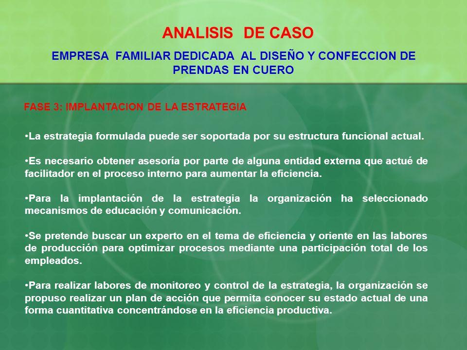ANALISIS DE CASO EMPRESA FAMILIAR DEDICADA AL DISEÑO Y CONFECCION DE PRENDAS EN CUERO FASE 3: IMPLANTACION DE LA ESTRATEGIA La estrategia formulada pu