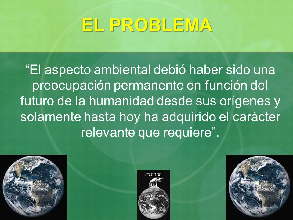 EL PROBLEMA El aspecto ambiental debió haber sido una preocupación permanente en función del futuro de la humanidad desde sus orígenes y solamente has