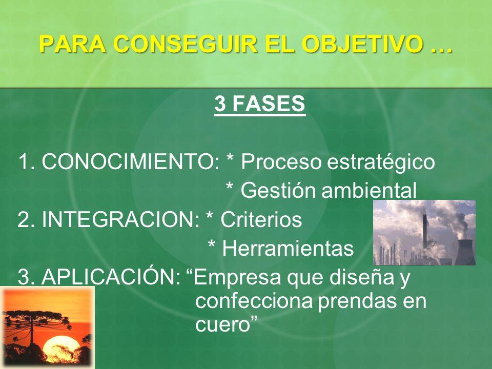 PARA CONSEGUIR EL OBJETIVO … 3 FASES 1. CONOCIMIENTO: * Proceso estratégico * Gestión ambiental 2. INTEGRACION: * Criterios * Herramientas 3. APLICACI