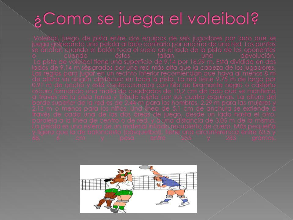 Voleibol, juego de pista entre dos equipos de seis jugadores por lado que se juega golpeando una pelota al lado contrario por encima de una red. Los p