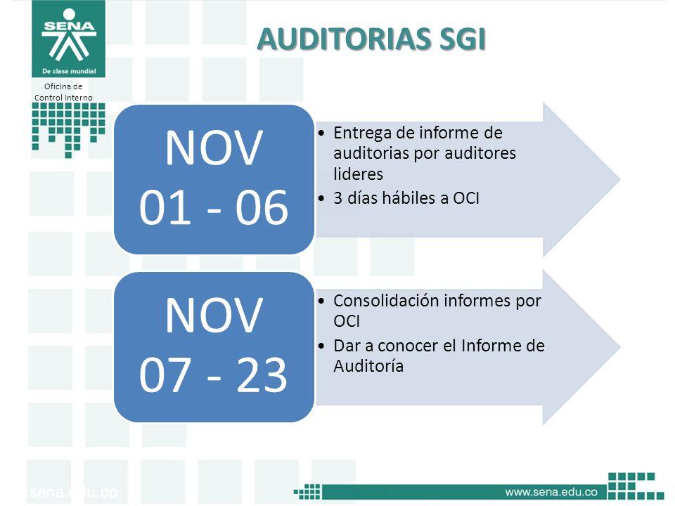 Oficina de Control Interno AUDITORIAS SGI Entrega de informe de auditorias por auditores lideres 3 días hábiles a OCI NOV 01 - 06 Consolidación inform