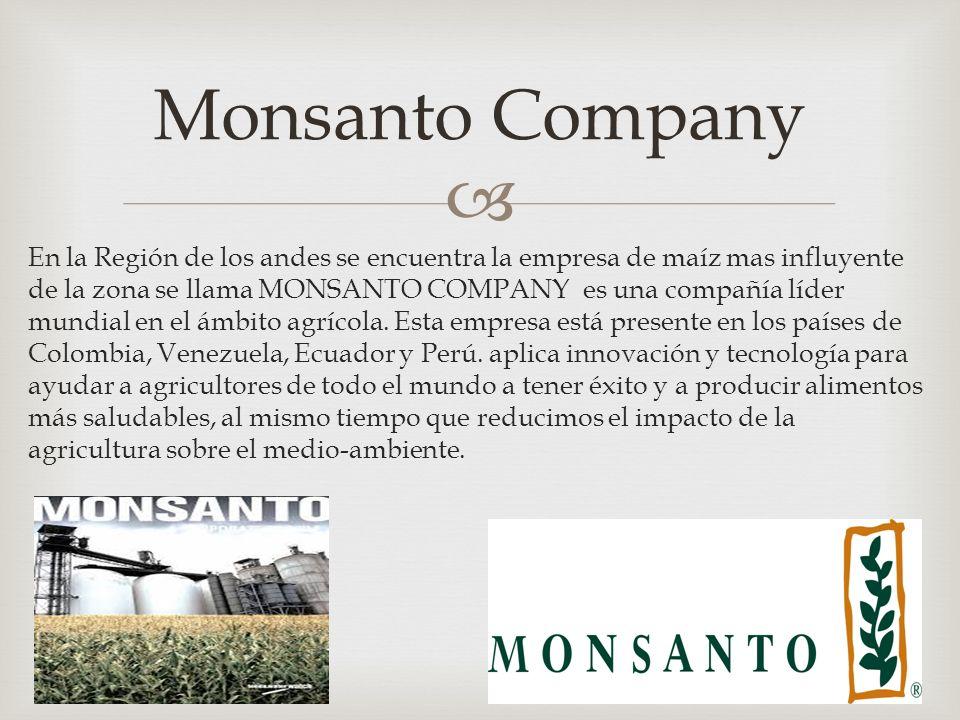 En la Región de los andes se encuentra la empresa de maíz mas influyente de la zona se llama MONSANTO COMPANY es una compañía líder mundial en el ámbito agrícola.