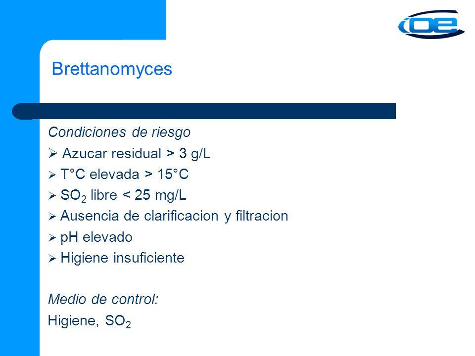 Brettanomyces Condiciones de riesgo Azucar residual > 3 g/L T°C elevada > 15°C SO 2 libre < 25 mg/L Ausencia de clarificacion y filtracion pH elevado Higiene insuficiente Medio de control: Higiene, SO 2