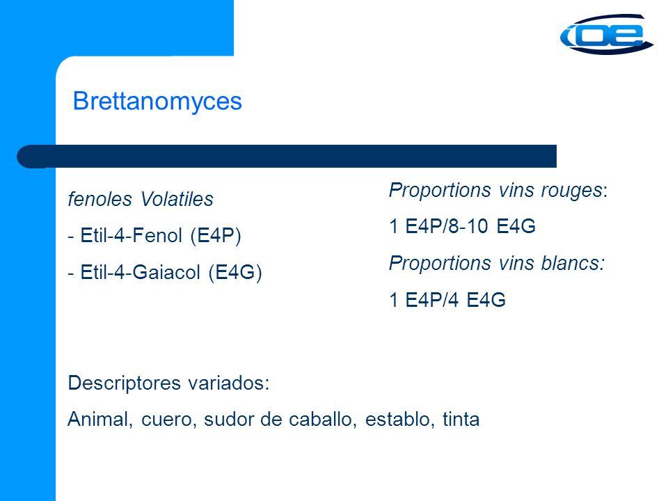 Brettanomyces fenoles Volatiles - Etil-4-Fenol (E4P) - Etil-4-Gaiacol (E4G) Descriptores variados: Animal, cuero, sudor de caballo, establo, tinta Proportions vins rouges: 1 E4P/8-10 E4G Proportions vins blancs: 1 E4P/4 E4G