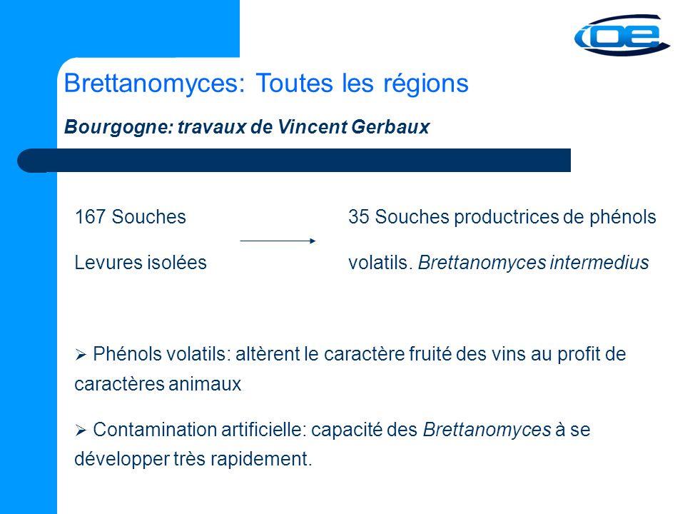 Brettanomyces: Toutes les régions 167 Souches35 Souches productrices de phénols Levures isoléesvolatils.